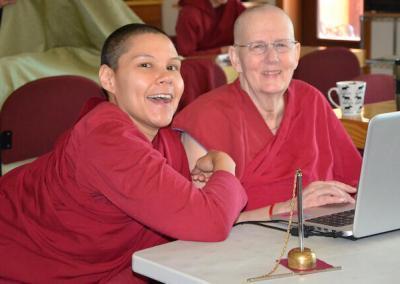 Nuns livestream meditation sessions.