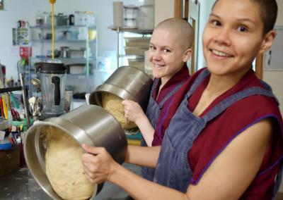 Nuns bake bread.