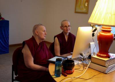 Nuns teach class online.