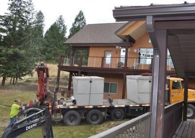 New septic tank arrives.