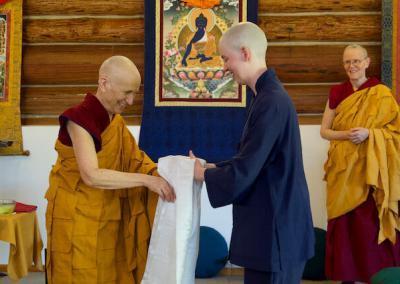 Monastic trainee thanks her preceptor.