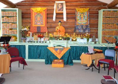 Meditation hall arranged for ordinations.