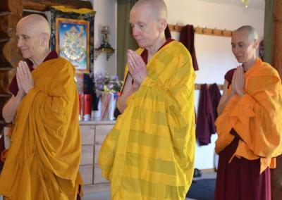 Nun receives monastic precepts.