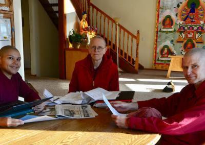 Monastics discuss water plans.