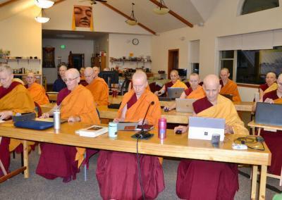 Sangha listens to teachings.