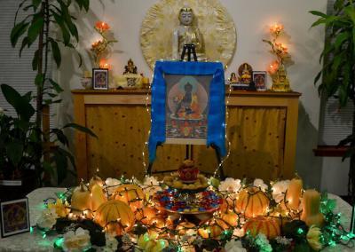 Decorations for Medicine Buddha puja altar.
