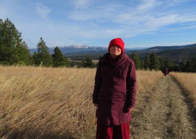 Nun walks in meadow.