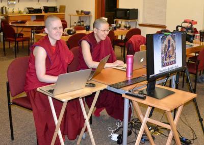 Nuns broadcast puja online.