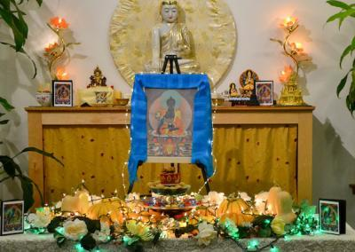 Medicine Buddha altar.