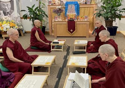Nuns do Medicine Buddha puja.