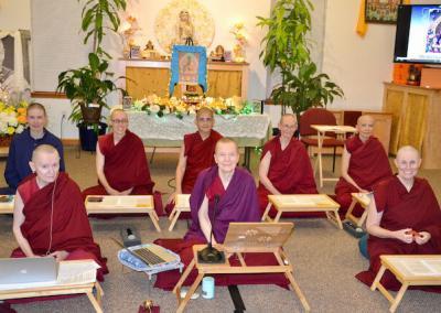 Nuns in Medicine Buddha puja.