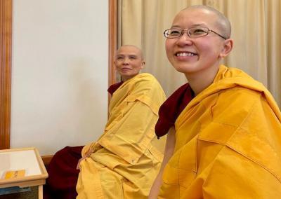 Nuns smile during teachings.