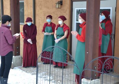 Restauranteur offers food to nuns.