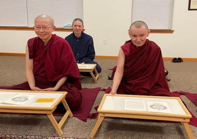 Nuns prepare for meditation.