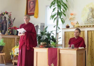 Nuns lead meditation.