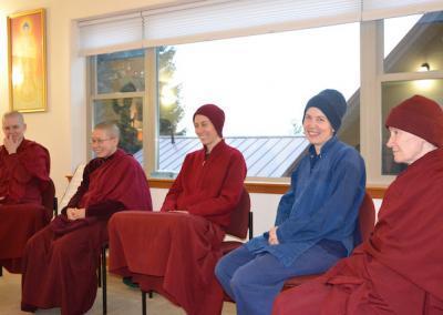 Monastics and trainee discuss monastic discipline.