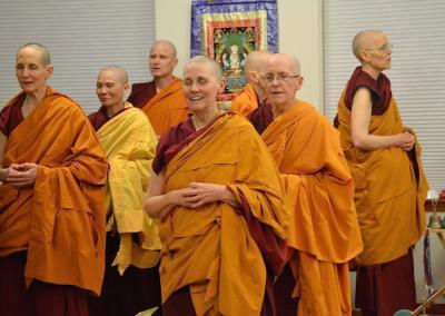 Monastics chant.