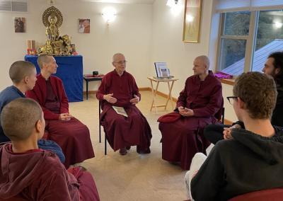 Nun teaches on prostration practice.