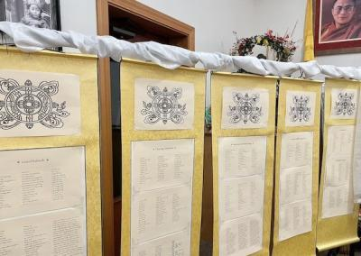 Five hanging scrolls with many names