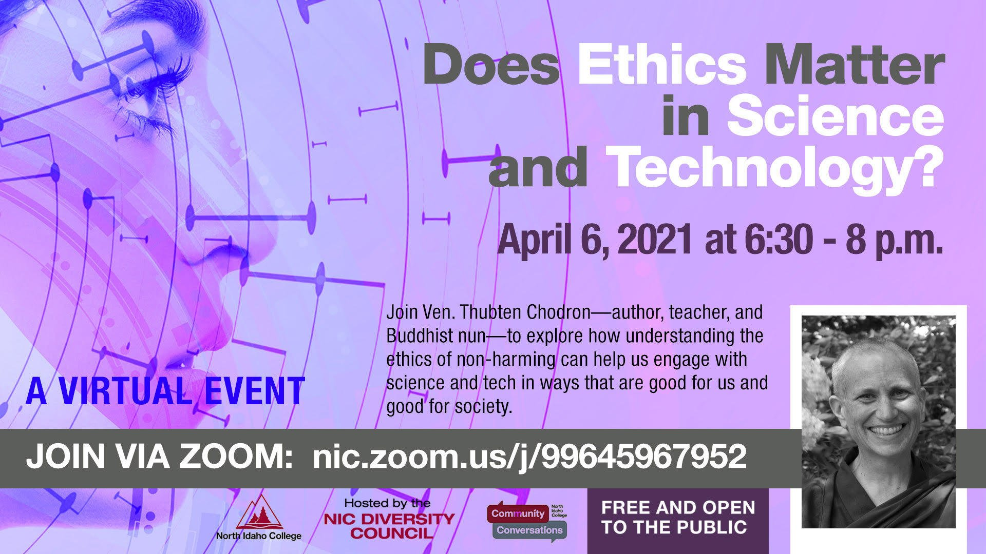 Flier for Venerable Chodron's talk at North Idaho College (via Zoom) in April 2021