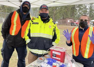 Local healthcare workers vaccinate.