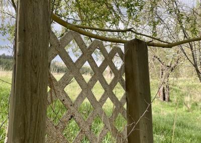 Fence door.