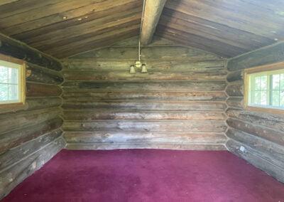 Inside of log cabin.