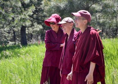 Nuns scope future site of Buddha Hall.