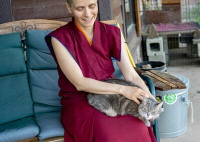 Nun and cat.