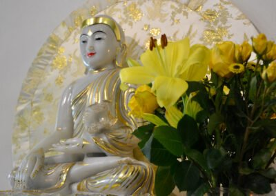 Buddha and flowers.