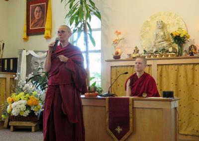 Nun introduces meditation leader.