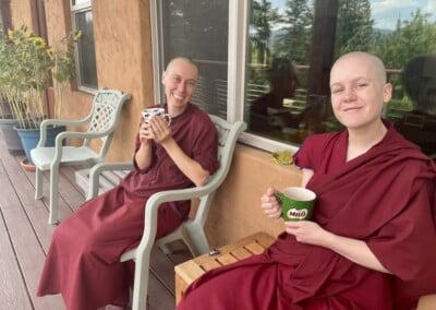 Nuns drink tea.