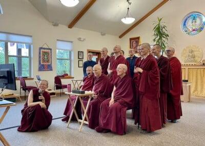 Monastics on Zoom call.