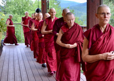 Monastics chant during walking meditation.