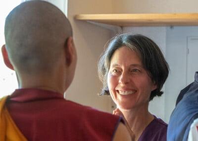 Woman appreciates monastic.