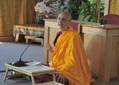 Nun gives Dharma talk.