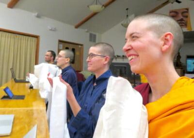 Nun and trainees offer khata.