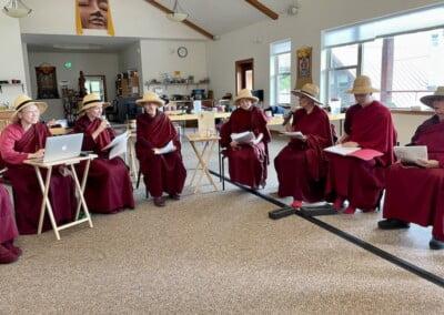 Monastics celebrate abbess' birthday.