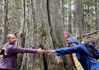 Nuns ant trainees hug trees.