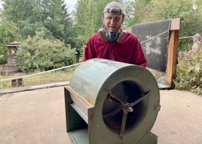 Monk with fan