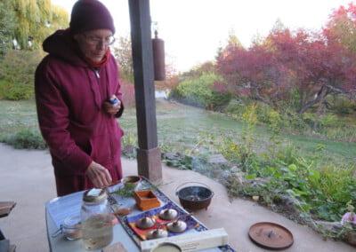 Nun performs ritual outside