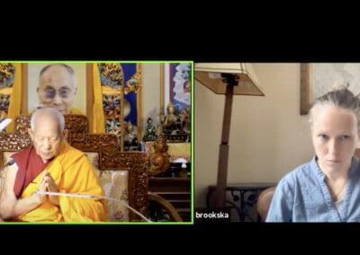 Split screen showing Tibetan monk and Western translator